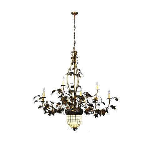 Meyda Tiffany 99911 Greenbriar Oak 9 Arm Chandelier in Bark Brown finish