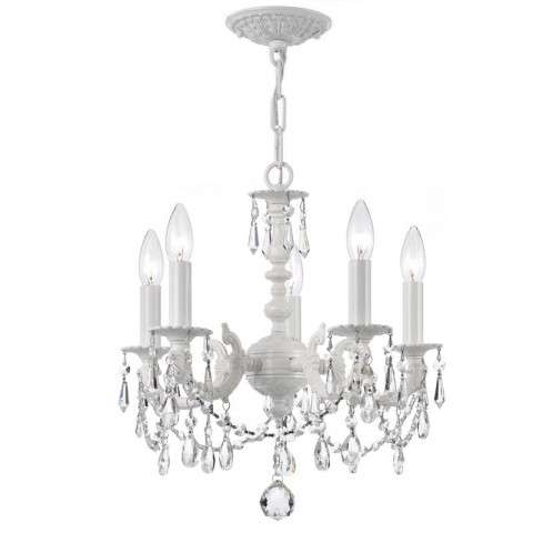 Crystorama Paris Market 5 Light Mini Chandelier in Wet White