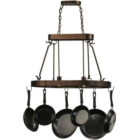 "32"" L Harmony 2 Lt Pot Rack. Custom Crafted In Yorkville - New York Please Allow 30 Days"