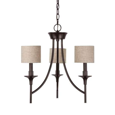 Seagull Lighting 31932-710 Three Light Chandelier in Burnt Sienna finish