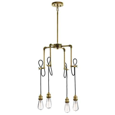 Mini Chandelier 4Lt in Natural Brass