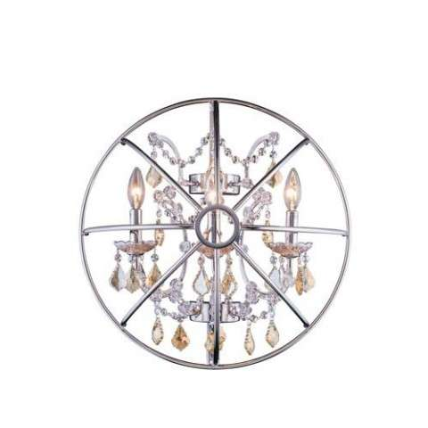 "1130 Geneva Collection Wall Lamp W:21"" H:21"" E10.5"" Lt: Polished nickel Finish (Royal Cut Golden Teak Crystals)"