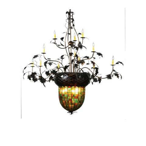 Meyda Tiffany 100697 Greenbriar Oak 12 Arm Chandelier in Antique Copper finish