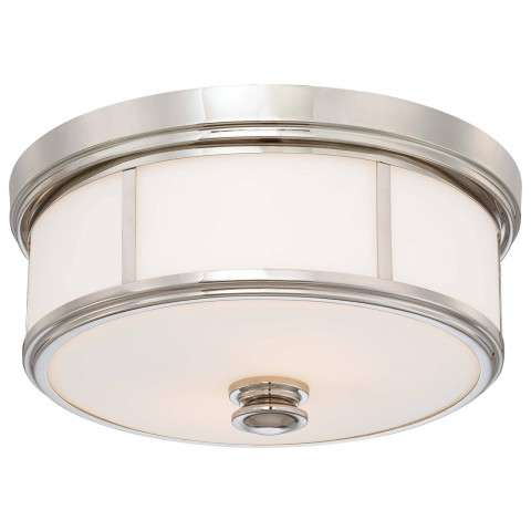 Minka Lavery 2 Light Flush Mount In Polished Nickel Finish W/ Etched Opal Glass