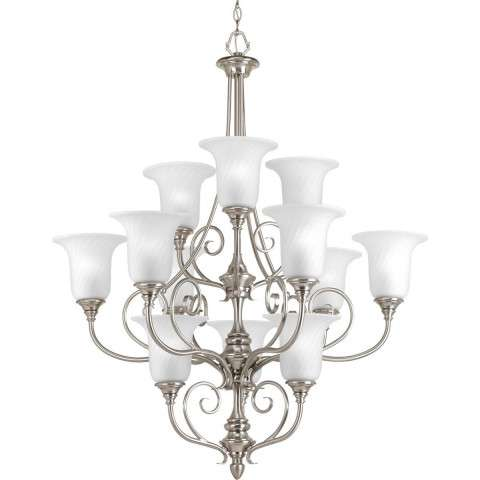 Kensington Brushed Nickel 12-Lt. chandelier with Swirled etched glass trumpet shaped shades