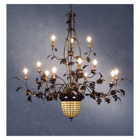 Meyda Tiffany 10009 Greenbriar Oak 12 Arm Chandelier in Antique Copper finish