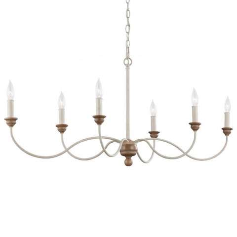 Hartsville 6 - Light Chandelier in Chalk Washed / Beachwood