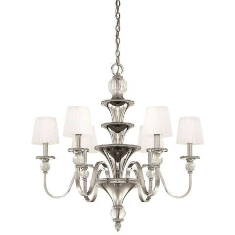 Metropolitan N6610-613 Six Light Chandelier in Polished Nickel finish with Mouth Blown Ribbed Optic Glass Accents/White Gossamer Pleated Shades