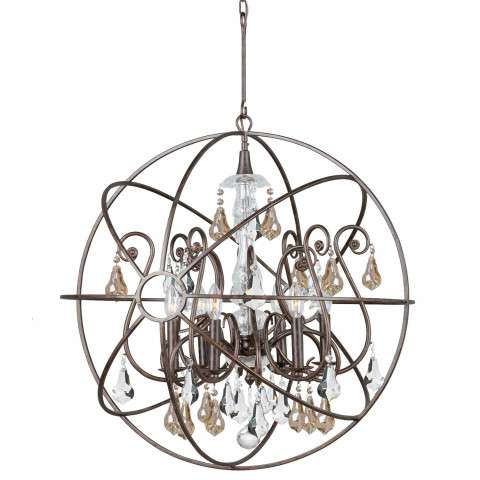 Crystorama 9028-EB-GS-MWP Chandelier with hand-painted wrought iron sphere and a crystal chandelier dressed with golden shade hand-cut crystals.