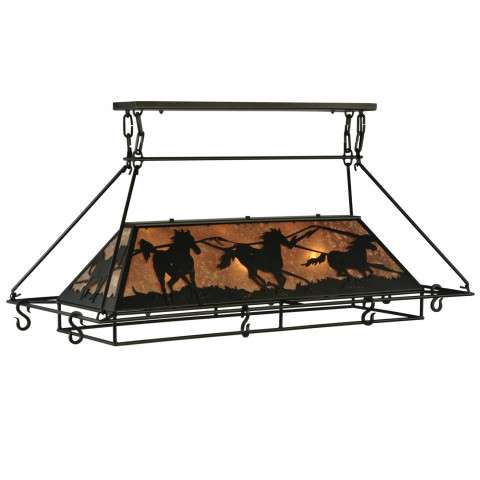"48""L Wild Horses Oblong Pot Rack"