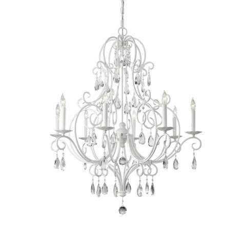 Chateau Blanc 8 Bulb Semi Gloss White Chandelier