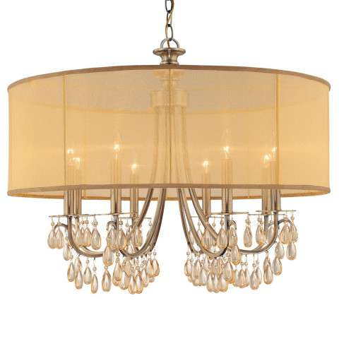 Crystorama 5628-AB Antique Brass Chandelier Accented with Etruscan Smooth Oyster crystals and Gold Silk Shimmer Shade