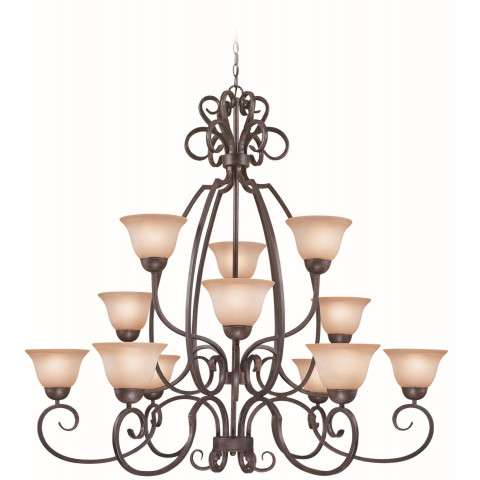 Craftmade Exteriors Sheridan - Forged Metal 12 Light Chandelier in Forged Metal