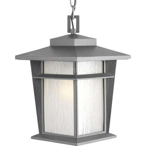 "Loyal Textured Graphite 1-Lt. Hanging Lantern w/Bulb (9"") Etched seeded glass panels"