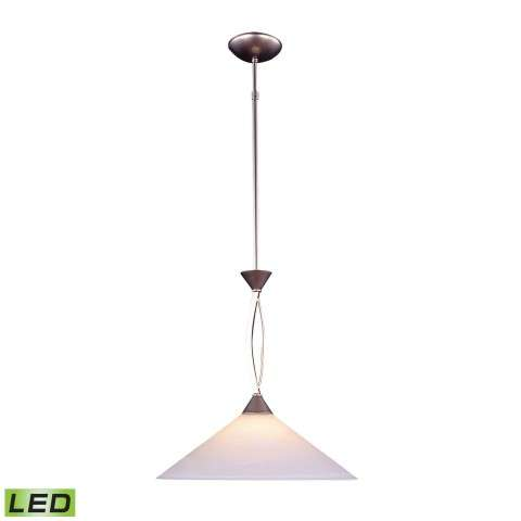 1 Light Pendant In Satin Nickel And Tea Swirl Glass - LED Offering Up To 800 Lumens (60 Watt Equi…