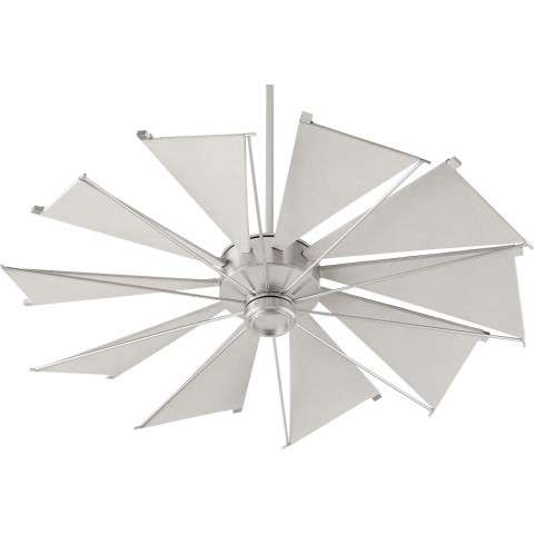 "Quorum 52"" Mykonos Ceiling Fan Model QU-65210-65 in Satin Nickel with Gray Canvas Blades."