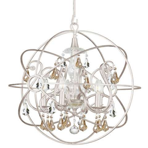 Crystorama 9026-OS-GS-MWP Chandelier with hand-painted wrought iron sphere and a crystal chandelier dressed with golden shade hand-cut crystals.