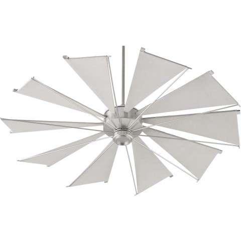 Quorum 60 Inch Mykonos Windmill Ceiling Fan Model 66010-65 in Satin Nickel with Gray Canvas Blades.