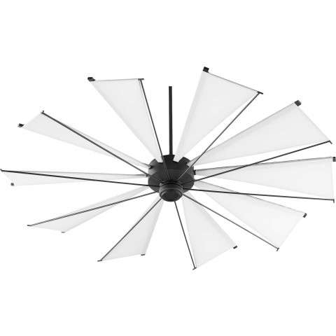 Quorum 72 Inch Mykonos Windmill Ceiling Fan Model 67210-65 in Noir Gray with White Canvas Blades.