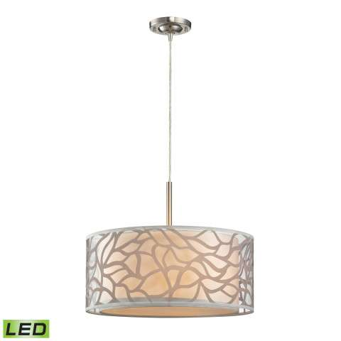 Autumn Breeze Collection 3 light pendant in Brushed Nickel - LED - 800 Lumens (2400 Lumens Total) …