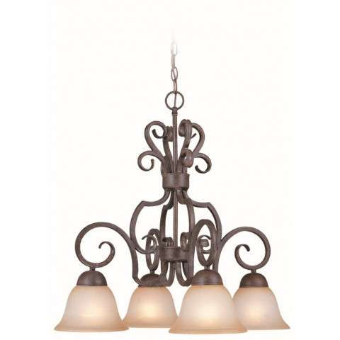 Craftmade Exteriors Sheridan - Forged Metal 4 Light Down Chandelier in Forged Metal