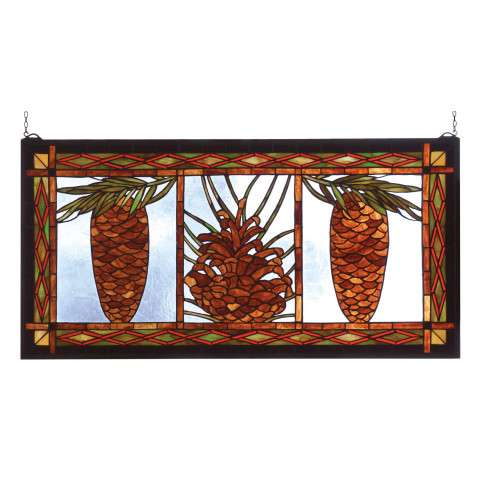 Meyda Tiffany 81470 Northwoods Pinecone Stained Glass Window in Rust finish