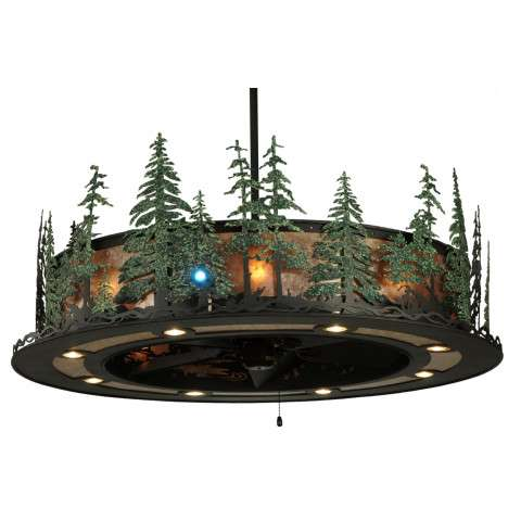 "Meyda 48"" Tall Pines Chandel-Air w/Up/Downlight/LED Spot in Iron w/Silver Mica and GreenTrees w/Oil Bronze Fan"