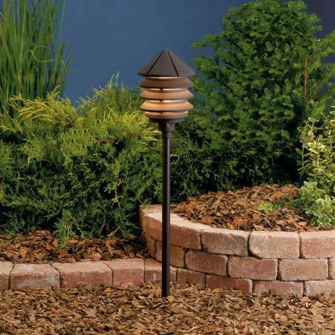 Kichler 15005AZT Path & Spread 1-Lt 12V in Textured Architectural Bronze.