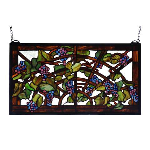 Meyda Tiffany 78088 Tiffany Grape Arbor Stained Glass Window in Bark Brown finish