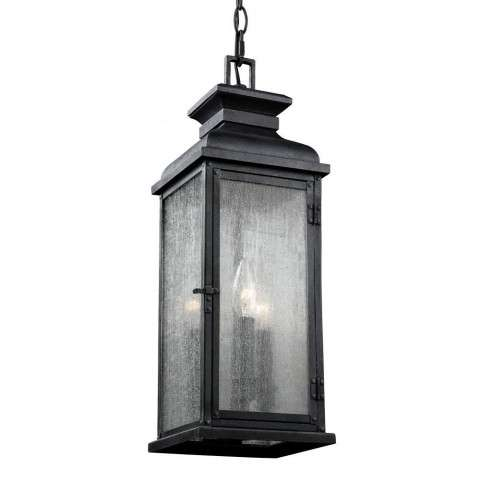 Pediment 2 - Light Outdoor Pendant in Dark Weathered Zinc