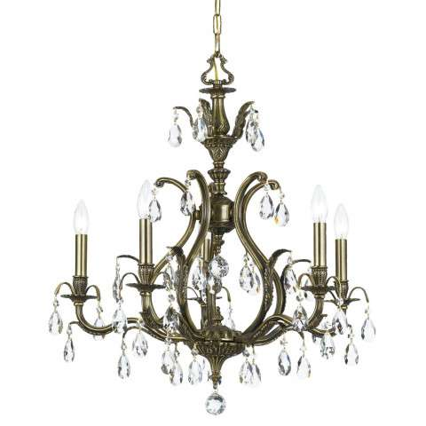 Crystorama 5565-AB-GT-MWP Golden Teak Hand Cut Chandelier