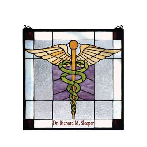 Meyda Tiffany 79885 Medical Personalized Stained Glass Window in Solid Brass finish
