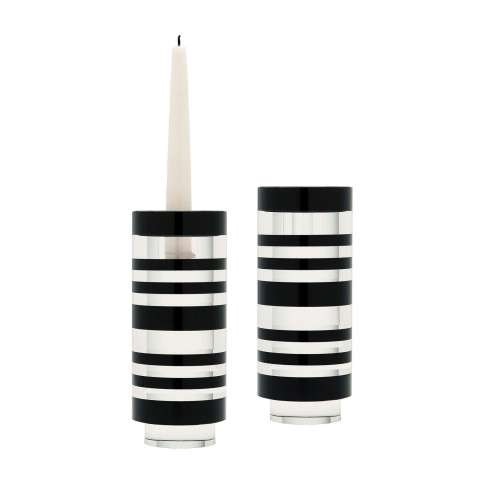 Sliced Tuxedo Crystal Candleholder - Small. Set Of 2