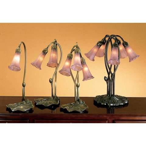 Meyda Tiffany 13863 Cranberry Pond Lily 3 Lt Accent Lamp in Mahogany Bronze finish