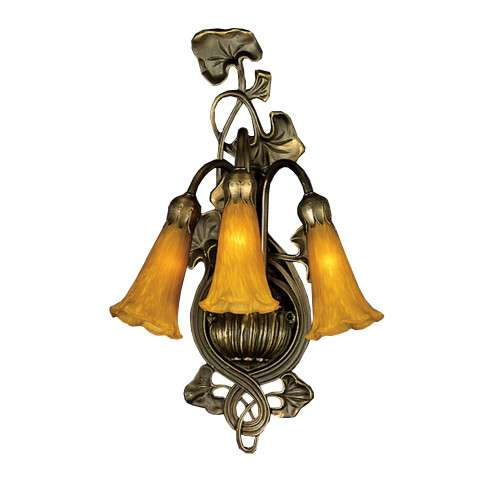 Meyda Tiffany 17191 Amber Pond Lily 3 Lt Wall Sconce in Mahogany Bronze finish