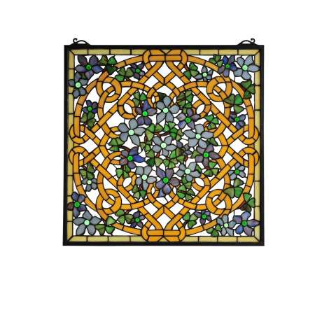 Meyda Tiffany 99027 Shamrock Garden Stained Glass Window in Copperfoil finish
