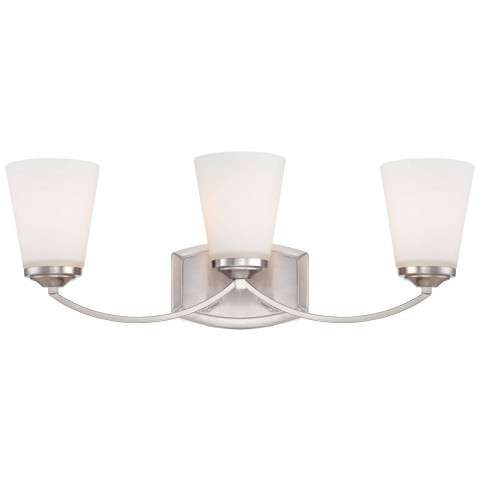 Minka Lavery 3 Light Bath In Brushed Nickel Finish W/ Etched Opal Glass