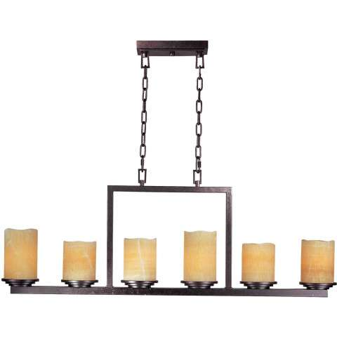 Maxim 21148SCRE Luminous 6-Light Chandelier in Rustic Ebony with Stone Candle glass.