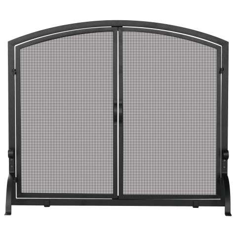 "Single Panel Black Wrought Iron Screen With Doors- Medium - 39"" Wide x 33"" Tall"