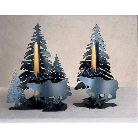 Meyda Tiffany 22361 Moose On The Loose Candle Holder in Black finish
