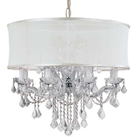 Crystorama 4489-CH-SMW-CLM Brentwood Chandelier Draped in Clear Hand Cut Crystal & Accented with a Smooth Antique White Silk Shade