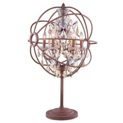 "1130 Geneva Collection Table Lamp D:22"" H:34"" Lt: Rustic Intent Finish (Royal Cut Golden Teak  Crystals)"