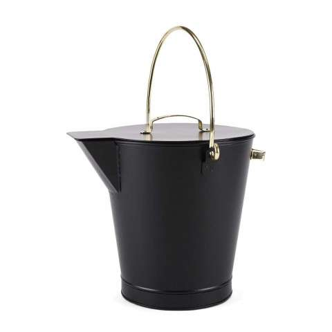 Ash Bucket w/ Brass Handles - PC - Black