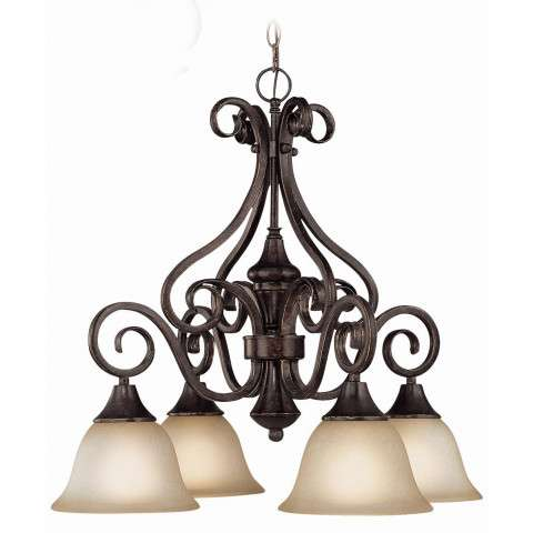 Craftmade Exteriors Torrey - Burnished Armor 4 Light Down Chandelier in Burnished Armor