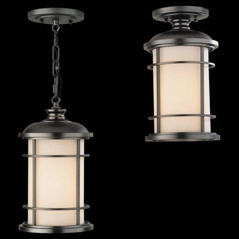 Murray Feiss OL2209BB Lighthouse Duomount Hanging Lantern in Burnished Bronze finish with Opal etched glass