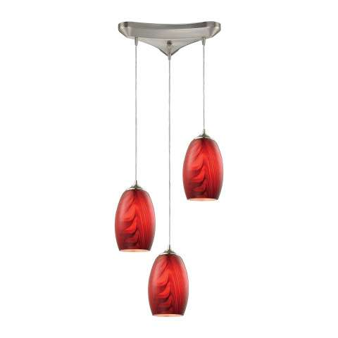 Tidewaters 3 Light Pendant In Satin Nickel