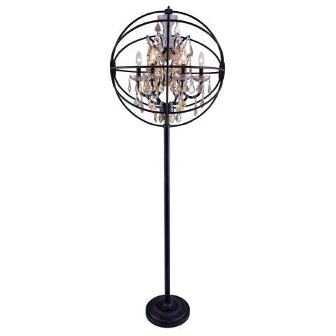 "1130 Geneva Collection Floor Lamp D:24"" H:71.5"" Lt:6 Dark Bronze Finish (Royal Cut Golden Teak  Crystals)"