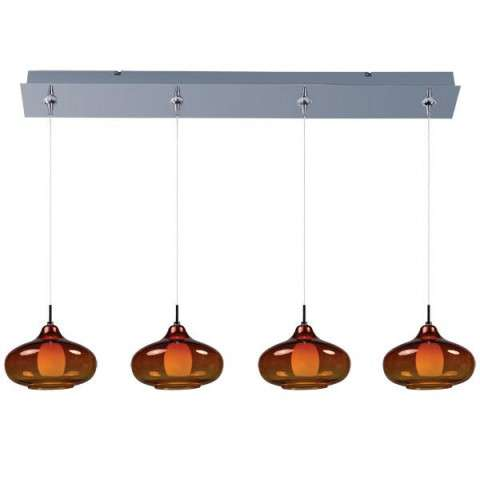 ET2 Contemporary Lighting E94948-141PC Minx 4-light Linear Pendant in Polished Chrome finish with Graduating Amber glass