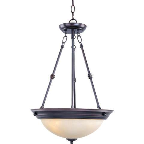 Maxim 5845WSOI 3-Light Invert Bowl Pendant in Oil Rubbed Bronze with Wilshire glass.