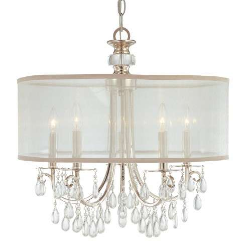 Crystorama 5625-CH Polished Chrome Chandelier Draped with Oyster Crystal Accented with a Silk Shade
